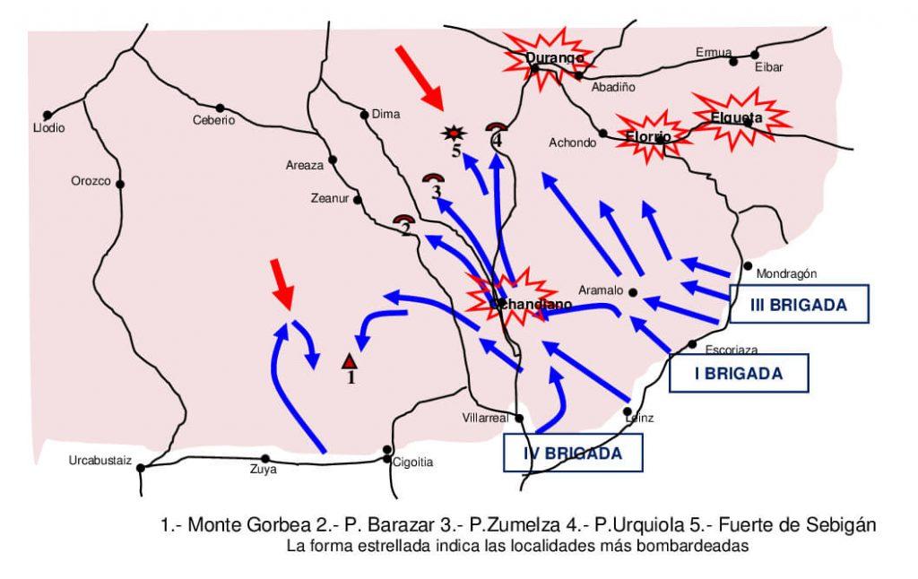 La zona estrellada indica las localidades más bombardeadas